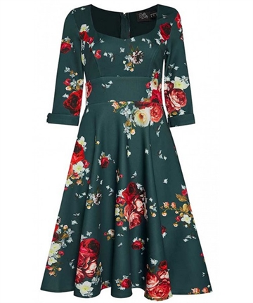 Debra Dress Tale Blue & Roses