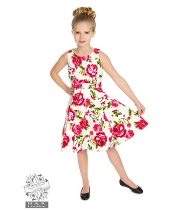 Girls Sweet Rose Swing Dress