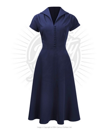 3d2358a66f2a Pretty 40s Hostess Dress in Navy
