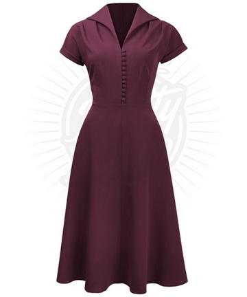 Pretty 40s Hostess Dress in Wine