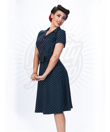 Pretty 40s Shirt Dress in Navy Polka
