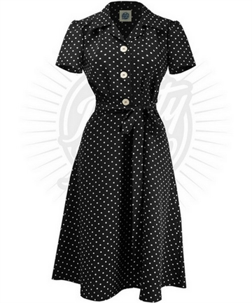 Pretty 40s Shirt Dress in Black Polka