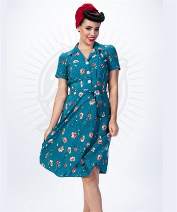 Pretty 40s Shirt Dress in Teal Floral