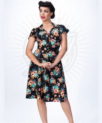 Pretty 40s Tea Dress in Black Floral