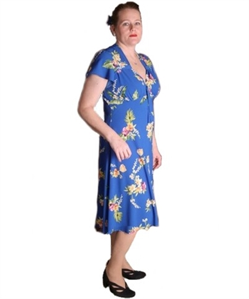 Pretty 40s Tea Dress in Blue Orchid